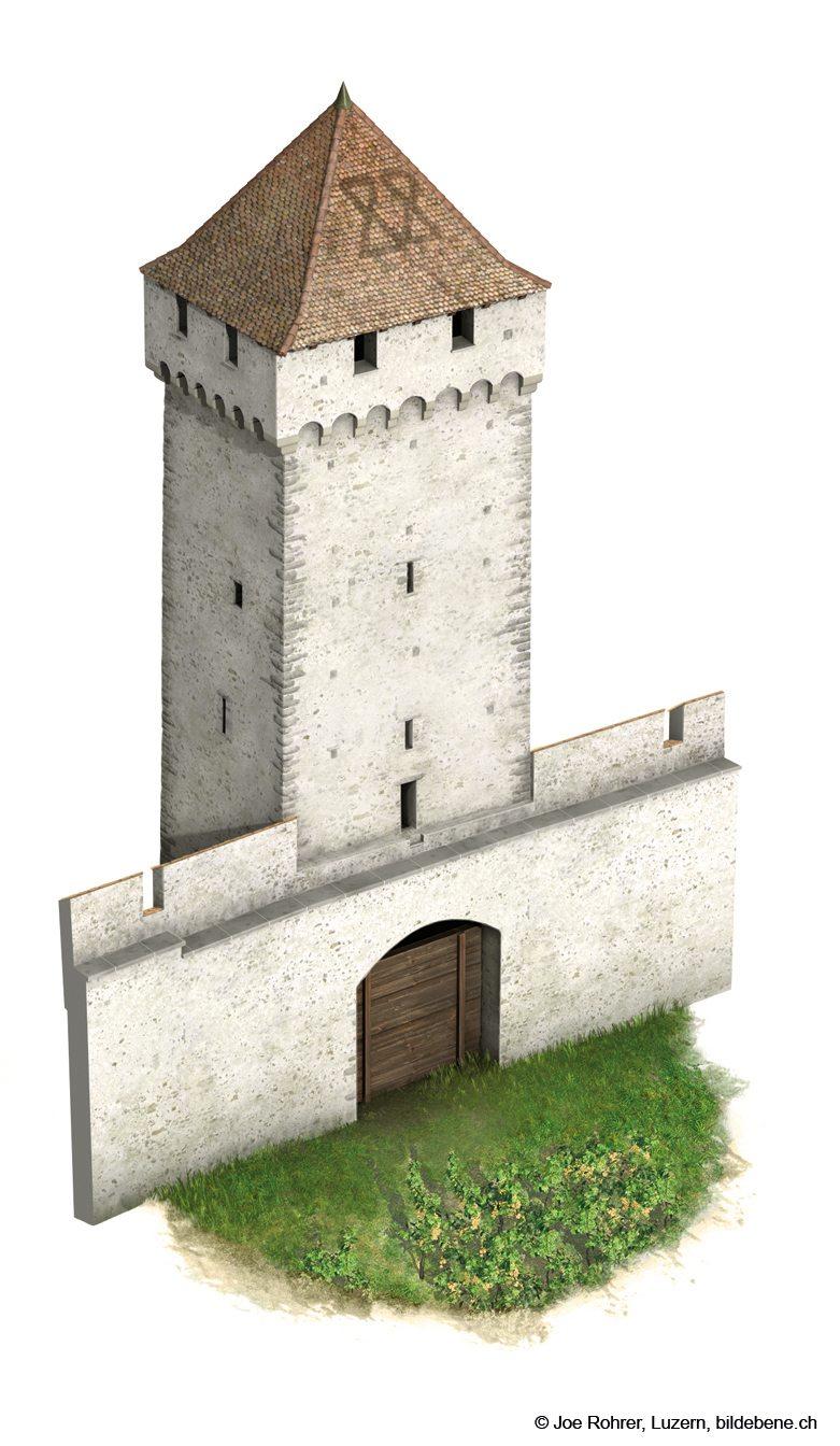So könnte der Pulverturm nach der Restauration aussehen.