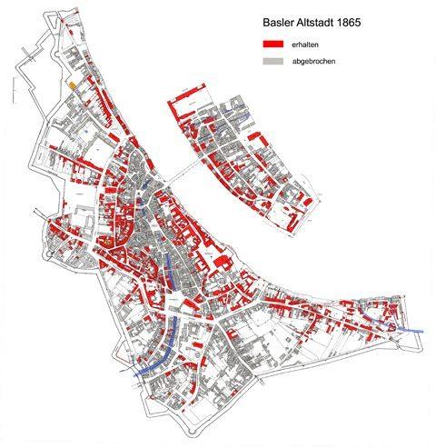 Die Basler Altstadt um 1865. (Quelle: denkmalpflege.bs.ch)
