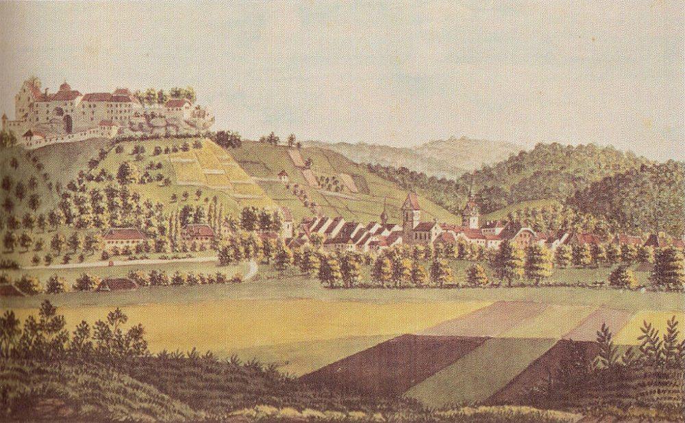 Ansicht von Schloss und Stadt Lenzburg, Aquarell, 1830 (Bild: Staatsarchiv des Kantons Aargau, Wikimedia)