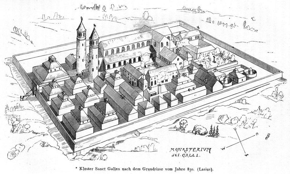 Rekonstruktionszeichnung des Klosters Sankt Gallen nach dem Grundriss des Sankt Galler Klosterplans aus dem frühen 9. Jahrhundert (Bild: J. Rudolf Rahn, WIkimedia)