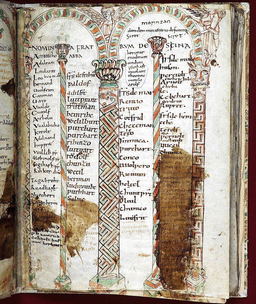 Verbrüderungsbuch von St. Gallen (9. Bis 11 Jahrhundert), in dem die Gebetsbrüderschaften der mittelalterlichen Klöster aufgezeichnet sind. (Bild: Albärt, Wikimedia, CC)