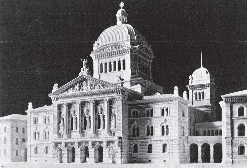 Gipsmodell des Parlamentsgebäudes in Bern, angefertigt von Anselmo Laurenti, ausgestellt 1895 (Bild: Heinrich Türler, Wikimedia)