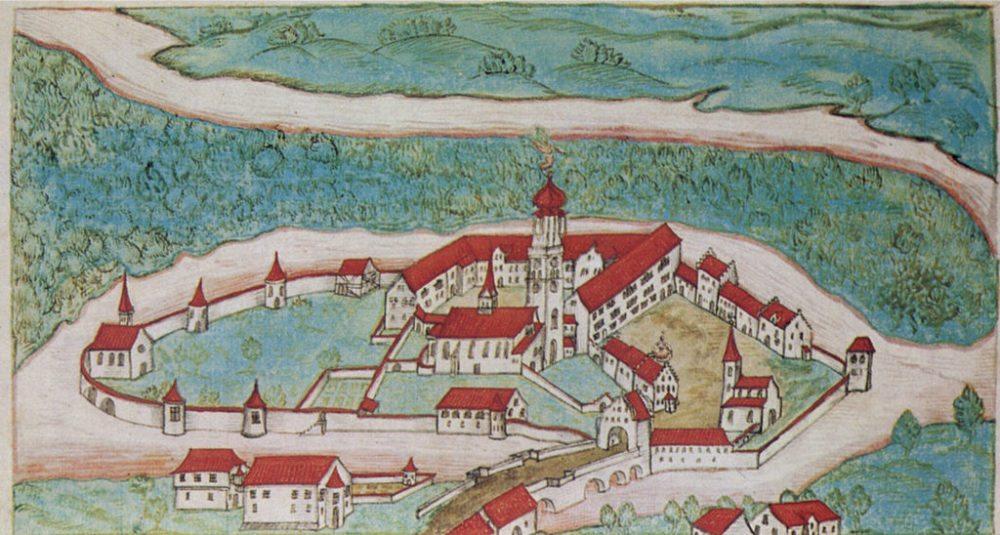 Das alte Benediktinerkloster Rheinau auf einer Darstellung von 1627. (Künstler: Gabriel Bucelinus, 1599-1681 / Public Domain)
