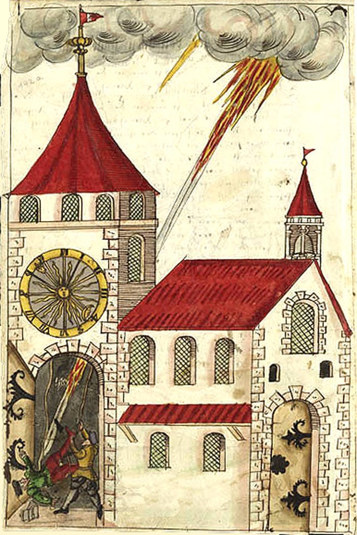 Am 7. August 1580 schlägt der Blitz in Bremgarten in die Kirche ein, während der Siegrist die Glocken läutet (Bild: Socrates75, Wikimedia)