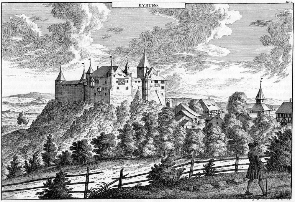 Schloss Kyburg, Stich von David Herrliberger, ca. 1740 (Bild: David Herrliberger, Wikimedia)