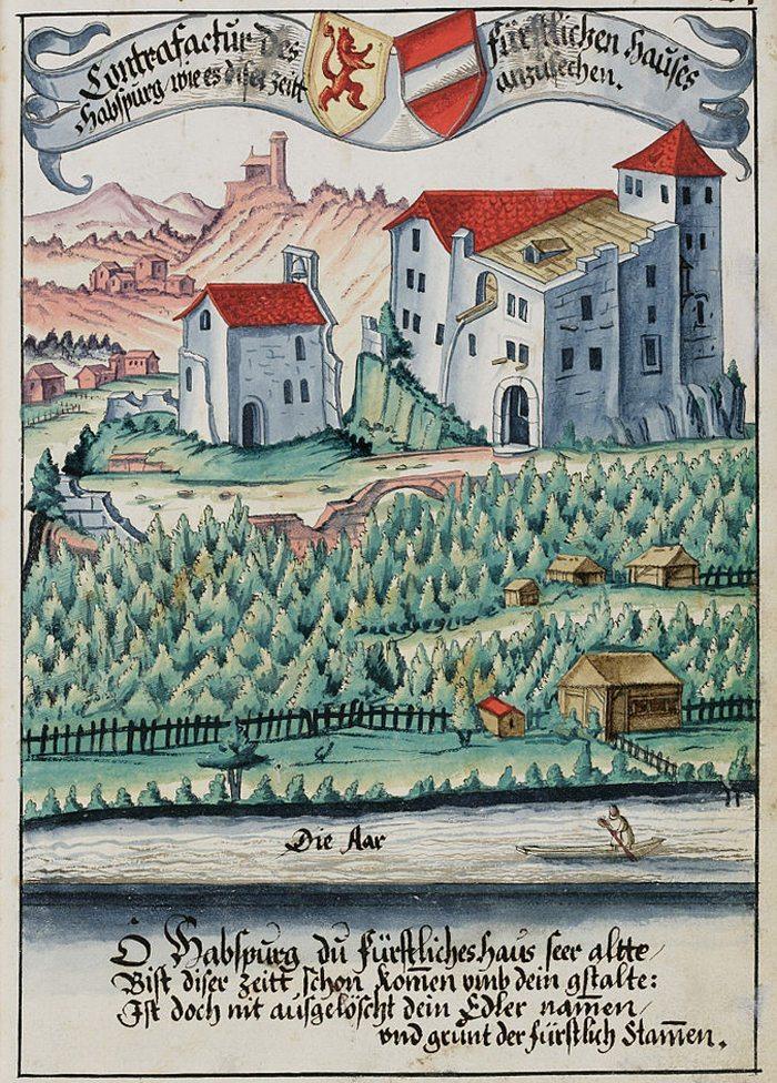Habsburger Wappenbuch – die älteste bekannte realitätsnahe Darstellung der Habsburg aus dem Jahre 1634 (Bild: Hans Ulrich Fisch,Wikimedia)