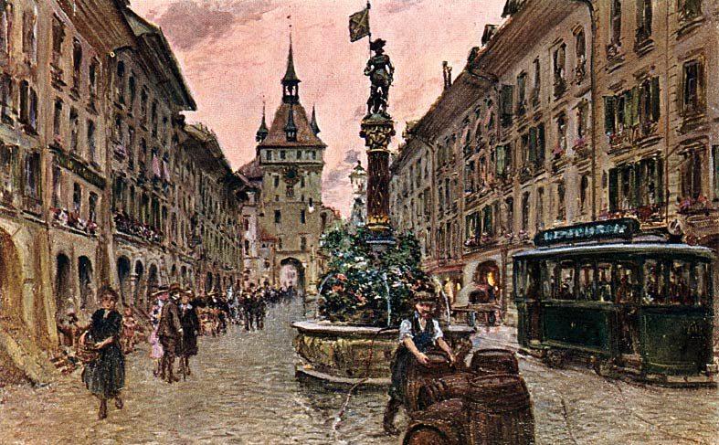 Gem´lde von Georges Stein: Marktgasse mit Käfigturm, Bern (Bild: Ajnem, Wikimedia)
