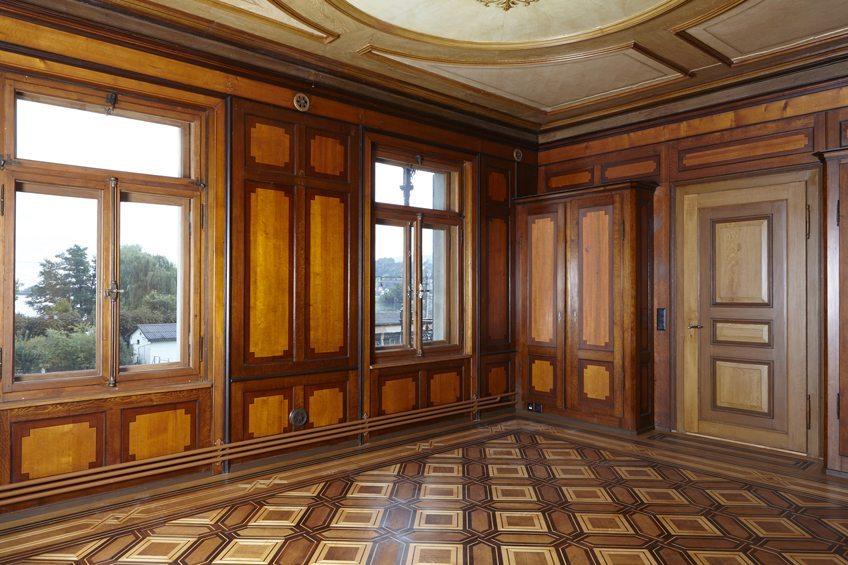 Blick ins Innere der Villa Zinggeler in Richterswil (Quelle: Kantonale Denkmalpflege, Baudirektion Kanton Zürich)