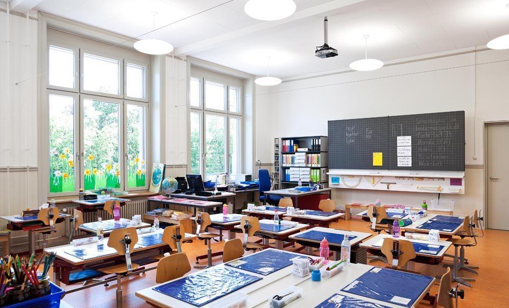 Schulhaus Maihof, Klassenzimmer (Bild: © Kantonale Denkmalpflege Luzern, Theres Bütler)