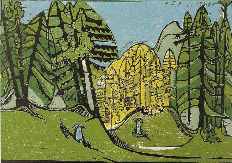 Waldfriedhof – Farbholzschnitt, Kirchner Museum Davos (Bild: Ernst Ludwig Kirchner, Wikimedia)