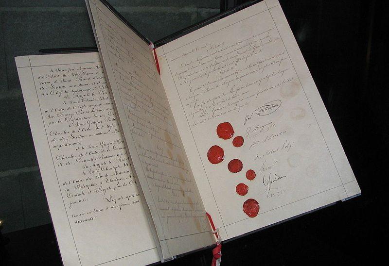 Originaldokument der ersten Genfer Konvention, 1864 (Bild: Kevin Quinn, Wikimedia, CC)