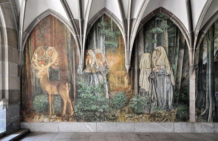 Paul Bodmers Wandmalereien im Kreuzgang des Fraumünsters in Zürich (Bild: Roland zh, Wikimedia, CC)