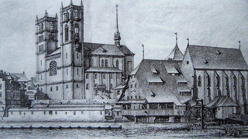 Grossmünster, Helmhaus und Wasserkirche in Zürich 1770 (Bild: Johann Balthasar Bullinger, Wikimedia)