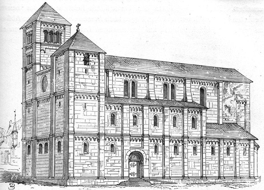 Rekonstruktionszeichnung des Grossmünsters in Zürich Mitte des 15. Jahrhunderts, vor dem Umbau zurzeit von Hans Waldmann. (Bild: Johann Rudolf Rahn, Wikimedia)