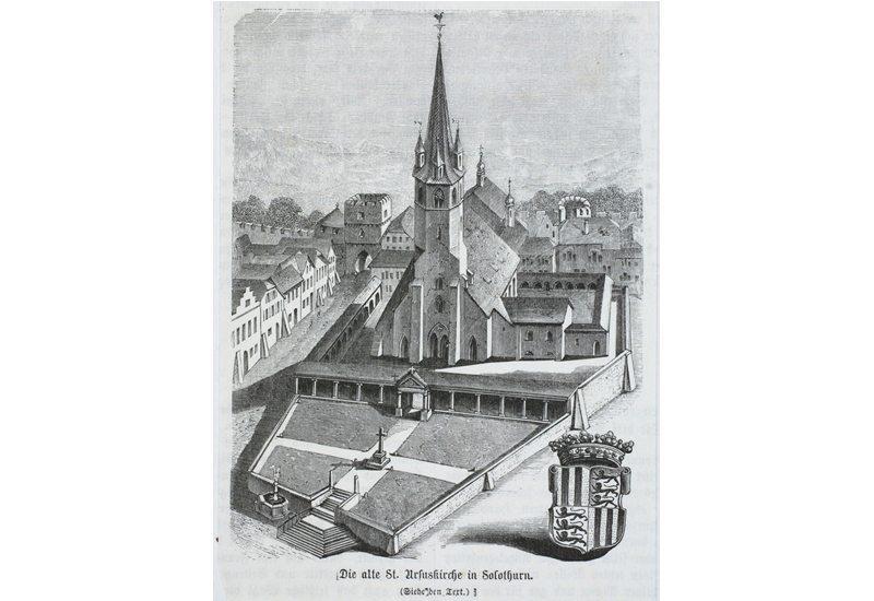 Die alte St. Ursuskirche in Solothurn (Bild: Zentralbibliothek Solothurn, Wikimedia)