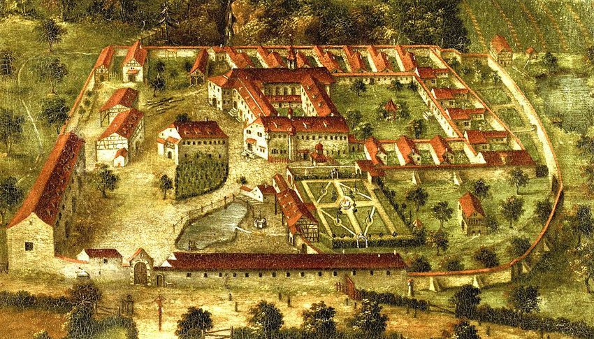 Kartause Ittingen im 18. Jahrhundert (Publikation der Stiftung Kartause Ittingen, Labhard Medien, Wikimedia)