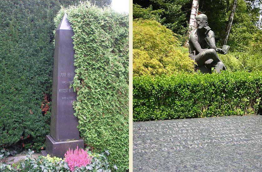 (1) Grabmal für August Bebel auf dem Friedhof Sihlfeld in Zürich; (2) Das Grab von James Joyce in Zürich auf dem Friedhof Fluntern. (Bilder: (1)Florian Hoffmann, Wikimedia, GNU; (2) Lars Haefner, Wikimedia, GNU)