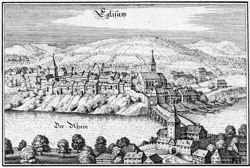 Die Stadt Eglisau im Kanton Zürich, in der Topographia Helvetiae von Matthäus Merian, ca. 1650 (Bild: Matthäus Merian, Wikimedia)