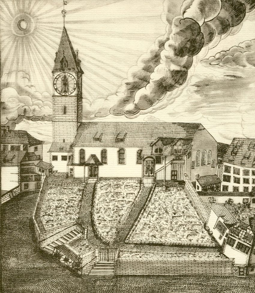 Die St. Peterskirche in Zürich um 1700 - Zeichnung um das Jahr 1700 aus dem Regimentsbuch von Gerold Escher (Bild: Gerold Escher, Wikimedia)