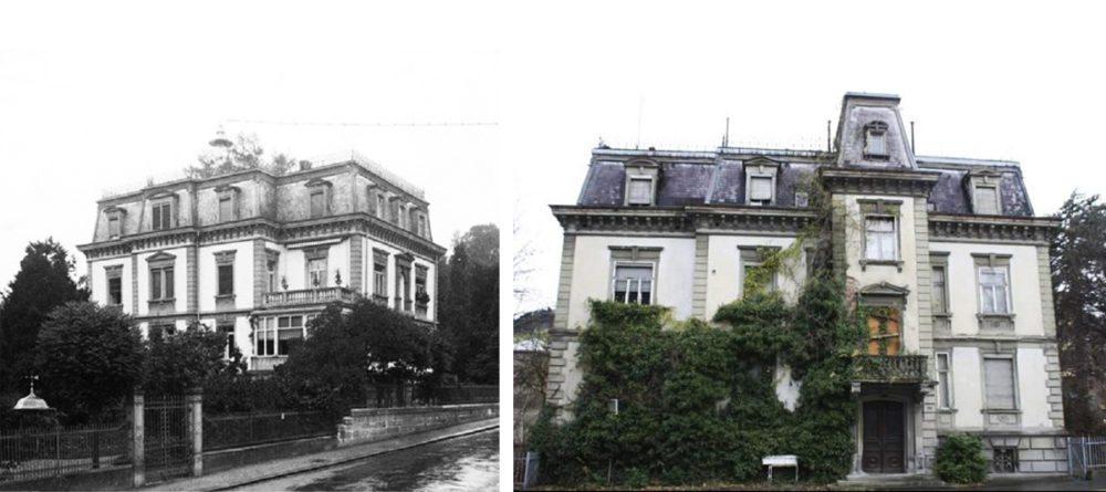 Villa Wiesental vor 100 Jahren und heute (Bilder: King Sphinx, Wikimedia, CC)