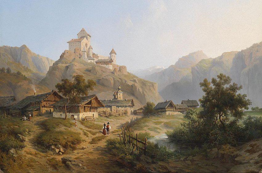 Ansicht von Dorf und Schloss Tarasp im Unterengadin im Kanton Graubünden, Öl auf Leinwand, 19. Jahrhundert (Bild: A. de Fontenay, Wikimedia)