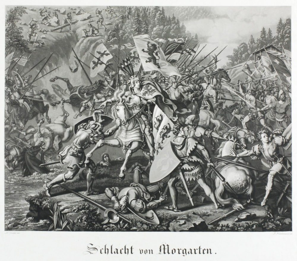 Die Schlacht am Morgarten 1315 (Bild: Martin Disteli, Zentralbibliothek Solothurn, Wikimedia)