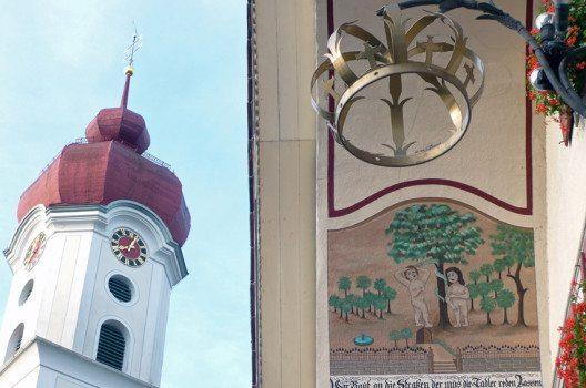 Sündenfall im  Paradies – Rundbogenmalerei, Gasthaus  Krone, Luthern (Bild: © Pius Häfliger, Luthern)