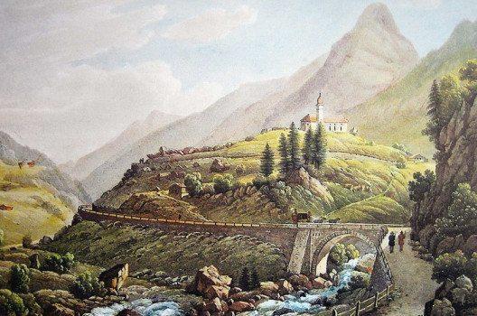 Gotthardpost bei Wassen, 1845, Aquatinta von Weber nach Zeichnung von Straub (Quelle: Sankt Gotthard, Artur Wyss-Niederer, Lausanne, Wikimedia, public domain )