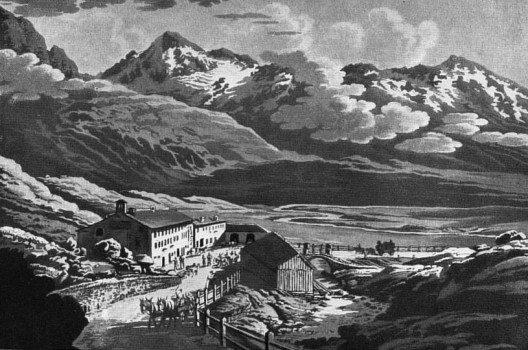 Gotthard- Hospiz: Goethe übernachtete dort mit Freunden am 21./22.Juni 1775. (Bild: Franz Hegi, Wikimedia, public domain)