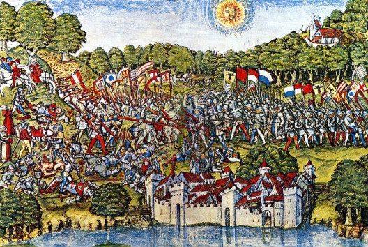 Die Schlacht bei Sempach, 9.07.1386, auf einem anonymen Aquarell von 1513. Schweizerisches Landesmuseum. (Bild: Wikimedia, public domain)