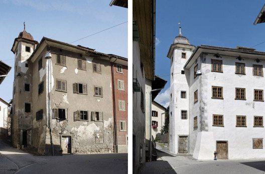 Türalihus in Valendas – Fassade in 2007 und 2012. (© Stiftung Ferien im Baudenkmal, Wikimedia, CC)