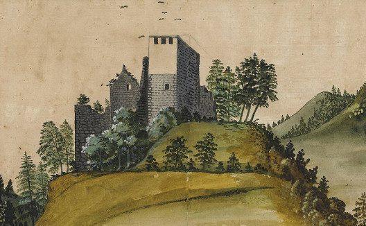 Die Burg Alt Wülflingen um 1673. (Bild: Zentralbibliothek Zürich, Wikimedia, public domain)