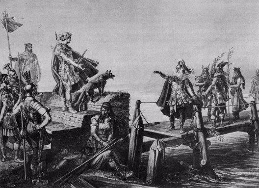 Divico, der greise Heerführer der Helvetier, trifft mit Julius Cäsar zusammen nach der Schlacht an der Saône. (Bild: © Karl Jauslin, Wikimedia, GNU)