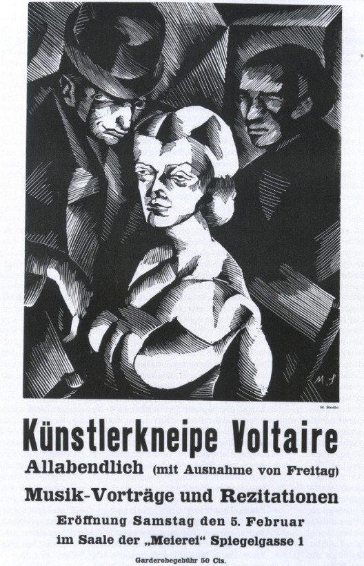 """Plakat zur Eröffnung der Künstlerkneipe """"Voltaire"""" (Bild: Marcel Słodki, Wikimedia, public domain)"""