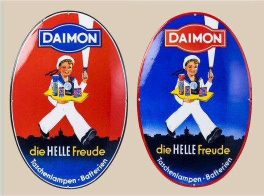 Daimon-Bube, Daimon, Taschenlampen-Batterien, Deutschland, 1950–1960 (Bild: Spielzeug Welten Museum Basel)