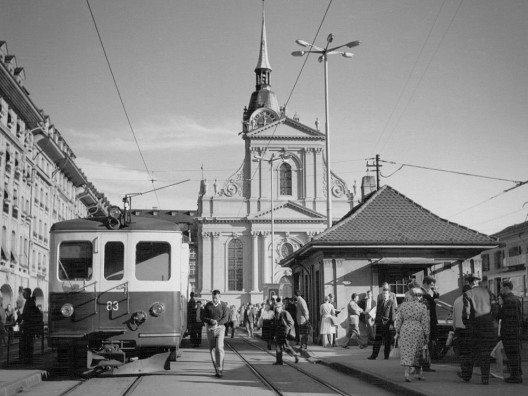 Bahnhofplatz Bern, 1964 (Bild: © Regionalverkehr Bern-Solothurn RBS)