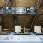 An der Ausstellung im Nidwaldner Museum Salzmagazin sind Pläne und Bilder der Wet- terstation/Bucherer-Pavillon, als Teil der Einkausfmeile zu sehen.