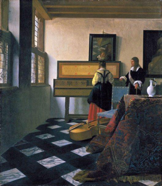 Johannes Vermeer, Die Musikstunde, ca 1660-1662, Royal Collection Trust. (Bild: PRNewsFoto/Mauritshuis)