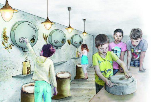 Die Mahlwerkstatt. Alle Besucher können ihr eigenes Mehl mahlen und daraus ein Brötchen backen. (Bild: Museum Mühlerama)