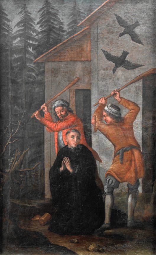 Meinrad wird von zwei Räubern ermordet. Öl auf Leinwand. Zweite Hälfte des 17. Jahrhunderts. Kloster Einsiedeln, Kunstsammlung. (Bild: Schweizerisches Nationalmuseum)