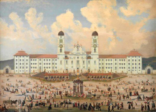 Das Kloster Einsiedeln um 1840/1850. Öl auf Holz. Kloster Einsiedeln, Kunstsammlung. (Bild: Schweizerisches Nationalmuseum)