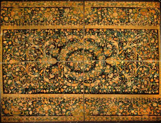 Der sogenannte Einsiedler Türkenteppich soll von Kaiser Leopold I. von Österreich 1683 erbeutet und dem Kloster geschenkt worden sein. Kloster Einsiedeln, Kunstsammlung. (Bild: Robert Rosenberg)