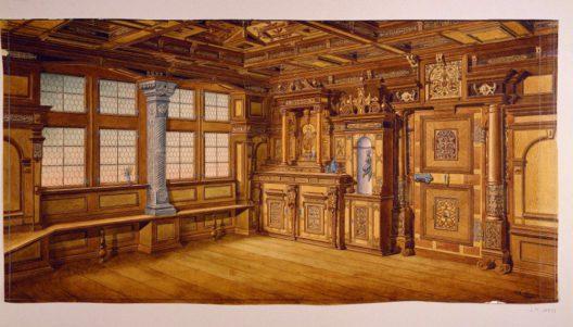 """Bilten, Elsenerstrasse 14, Milt/Elsiner‐Haus, Täferstube. Aquarell von 1882, signiert """"J. L. Meyer pinx"""". 101 × 51,8 cm. (Bild: Zürich, SNM, LM‐65419)"""