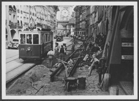 Umbau der Marktgasse 1938, Foto vom Tiefbauamt (SAB 1003 2 39E)