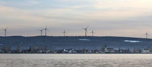 Windpark-Projekt Salen-Reutenen TG, im Vordergrund die Klosterinsel Reichenau (Welterbestätte UNESCO)