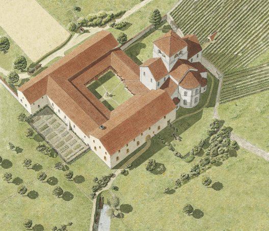 Vogelschau des Cluniazenserklosters nach der Fertigstellung um 1125. Erkennbar ist die Klosterkirche mit Apsiden, Querhaus und Vierung mit Turm. Das Kirchenschiff fehlt und wurde nie realisiert. Südseitig schliessen die drei heute noch grossenteils erhaltenen Konventsflügel mit dem Kreuzhof an.