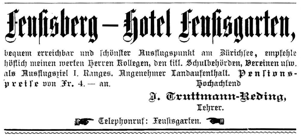 """Werbung für das """"Kurhaus Feusisgarten"""" im """"Höhenluftkurort Feusisberg"""" in einer Zeitschrift, 1906"""